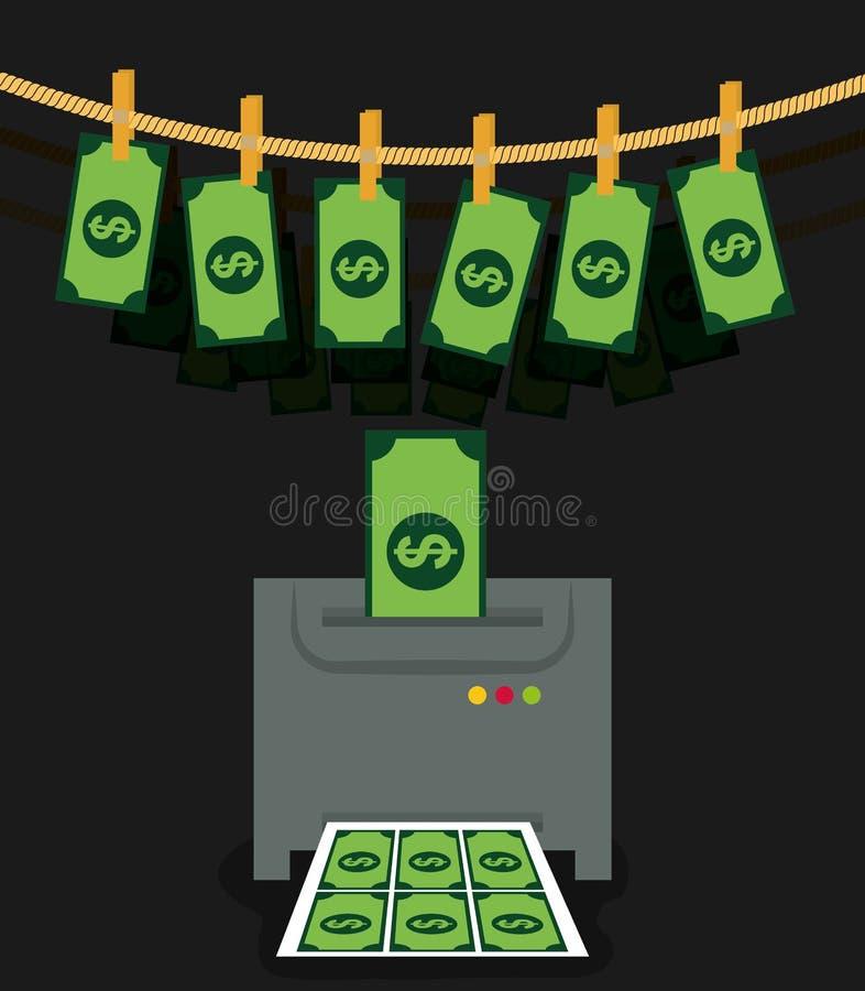 Очковтирательство денег и рубить дизайн иллюстрация вектора