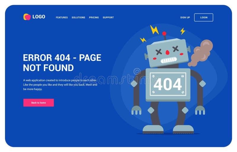 Ошибка 404 вебсайта со сломленным роботом домашняя кнопка характер иллюстрация вектора