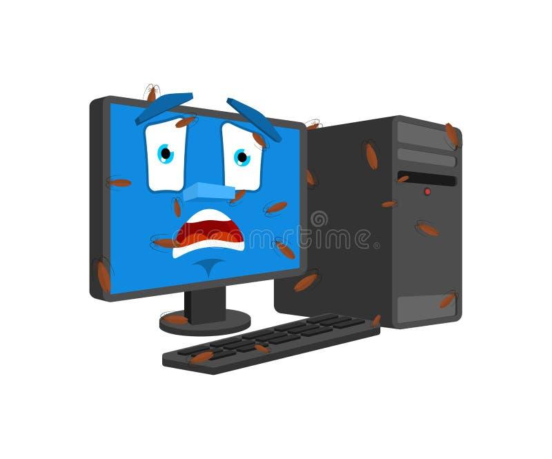 Ошибка в изолированном компьютере Зараженный стилем мультфильма ПК насекомых вектор паникованный устройством для обработки данных иллюстрация штока