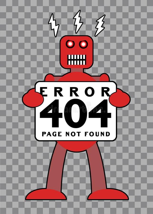 Ошибка 404: Сломленный ретро робот иллюстрация вектора