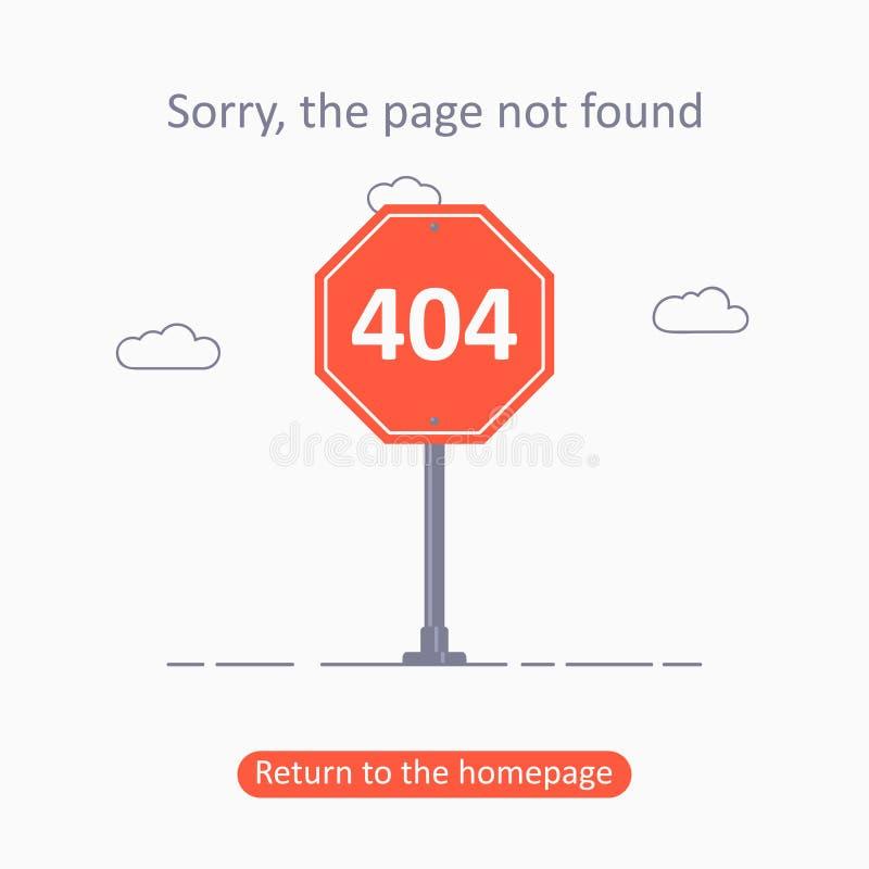ошибка 404 Страница не нашла шаблон с дорожным знаком Дизайн для интернет-страницы - знамени разъединения для вебсайта r бесплатная иллюстрация