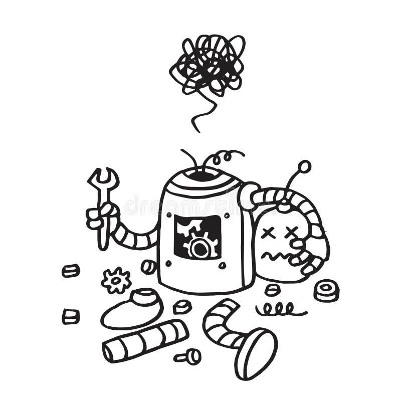 Ошибка 404 страницы найденная Сломленной шаблон вектора робота нарисованный рукой иллюстрация штока