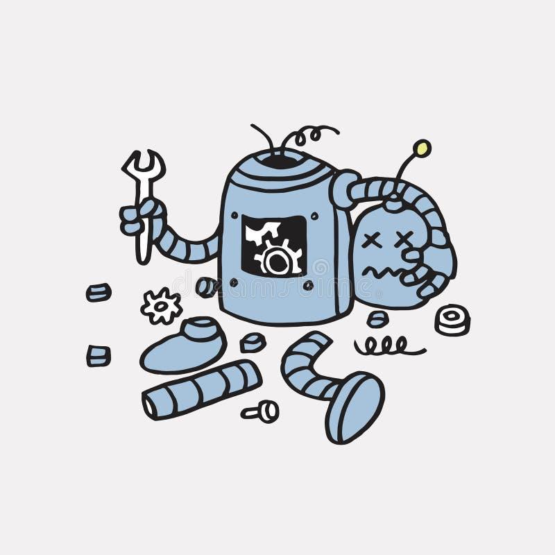 Ошибка 404 страницы найденная Сломленной шаблон вектора робота нарисованный рукой иллюстрация вектора