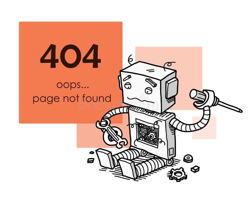 Ошибка 404 страницы найденная иллюстрация вектора