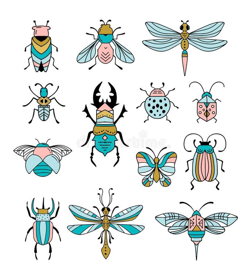 Ошибки, насекомые, бабочка, ladybug, жук, swallowtail, собрание dragonfly Современный набор значков, символов и иллюстрация вектора