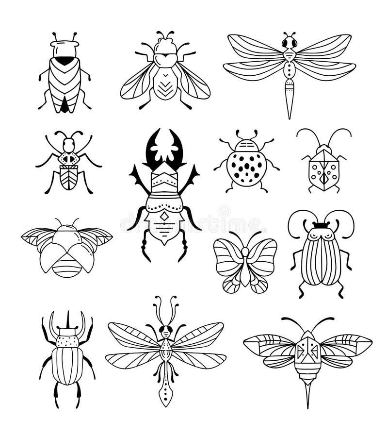 Ошибки, насекомые, бабочка, ladybug, жук, swallowtail, собрание dragonfly Современный набор значков, символов и бесплатная иллюстрация