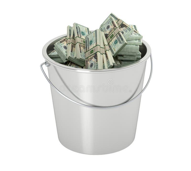 20 долларовых банкнот в ведре - изолированном на белизне бесплатная иллюстрация