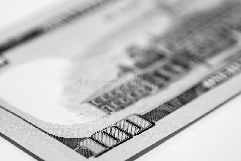 100 долларовых банкнот, конец вверх стоковые фото