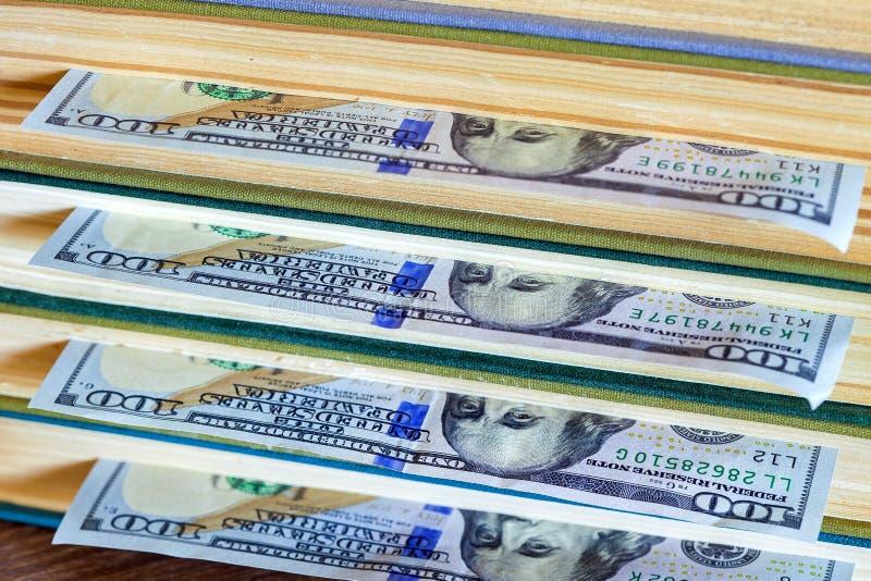 100 долларов лож между страницами стоковое фото rf