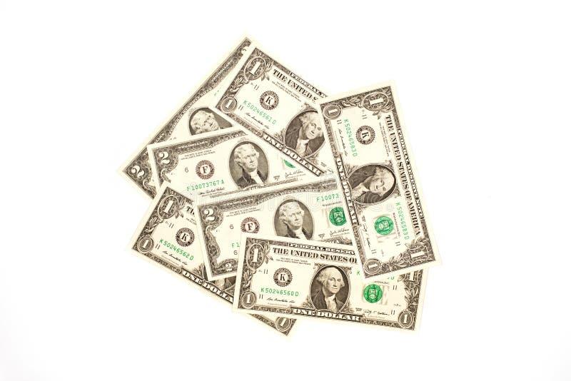 7 долларов США банкнот на белой предпосылке стоковое изображение rf