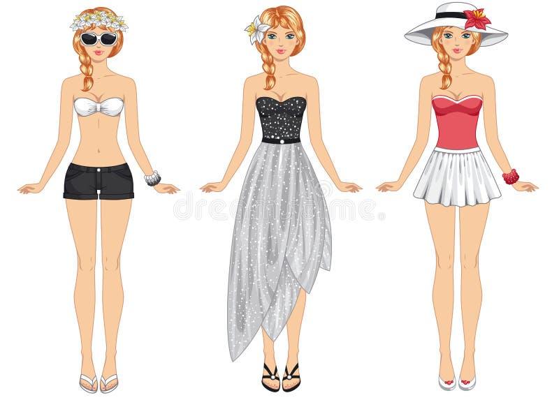 одевает лето девушок также вектор иллюстрации притяжки corel иллюстрация штока