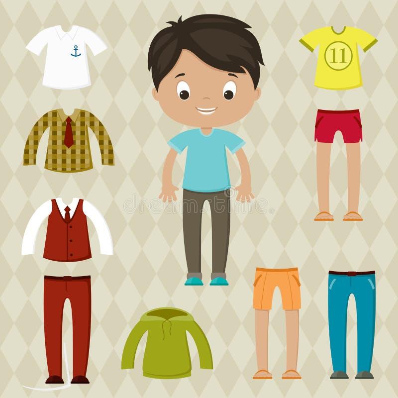 Одевайте игру Кукла мальчика бумажная при установленные одежды иллюстрация штока