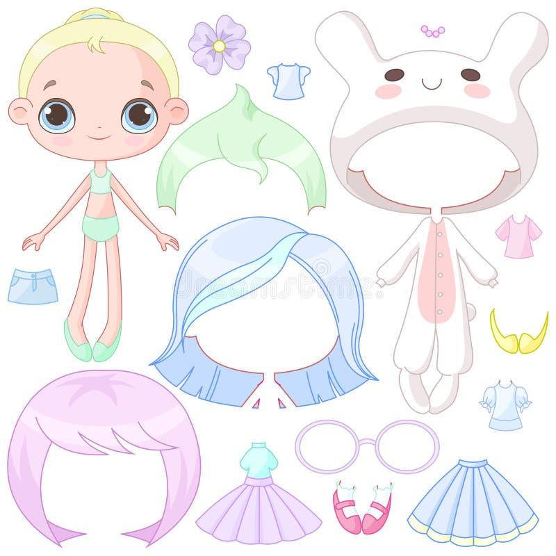 Одевайте куклу иллюстрация штока
