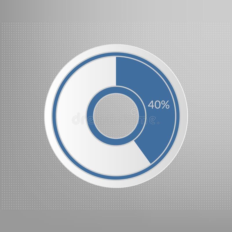 долевая диограмма 40% Знак вектора процента infographic 40 изолированный процентами символ круга на поставленной точки предпосылк иллюстрация штока