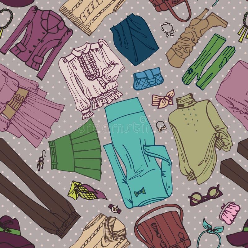 Одежда женщины и картина аксессуаров безшовная иллюстрация штока