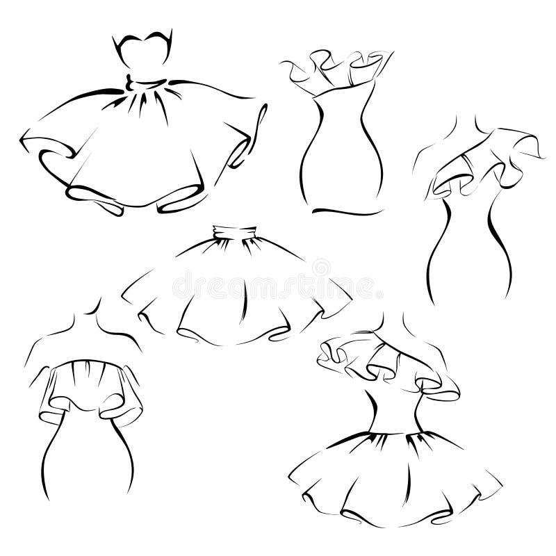 Одежды в романтичном стиле, контуре платья и юбки с рябями иллюстрация вектора