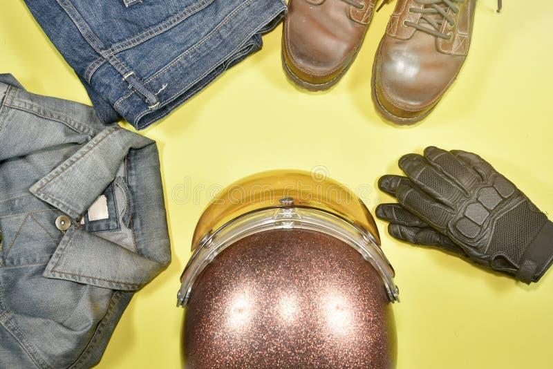 Одежды и аксессуары для всадника мотоцикла стоковые изображения rf