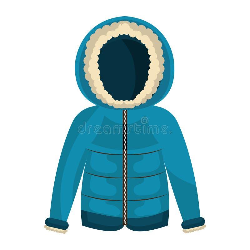 Одежды куртки зимы изолировали значок иллюстрация вектора