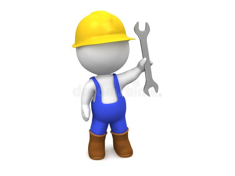 человек 3D с трудным шлемом, ключем, и прозодеждами бесплатная иллюстрация