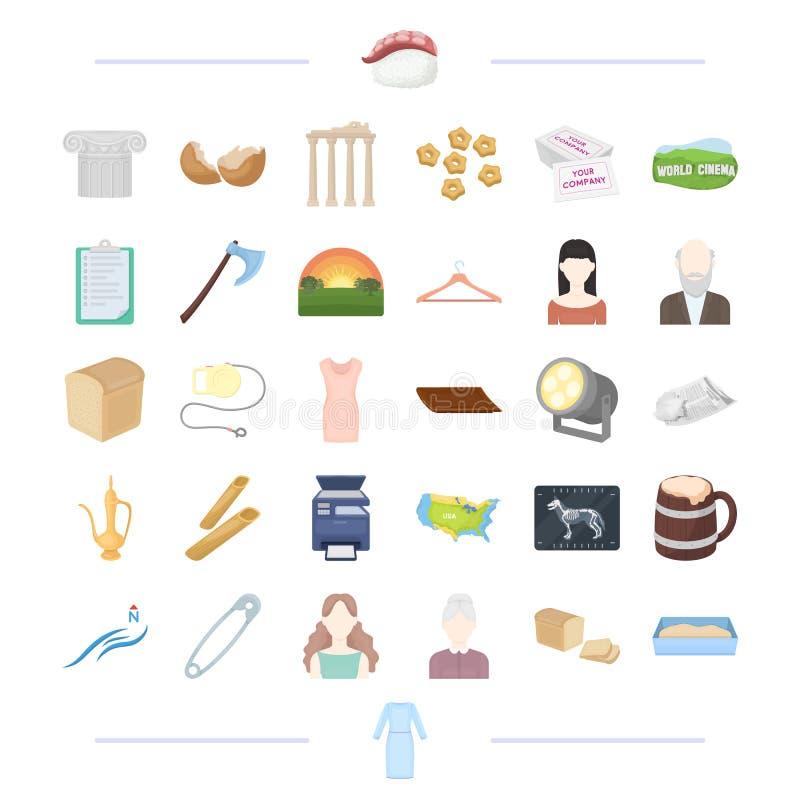 Одежды, театр, еда и другой значок сети в стиле шаржа время, возникновение, погода, значки atelier в собрании комплекта бесплатная иллюстрация