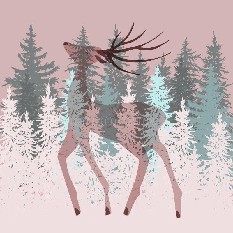 Олени двойной экспозиции в лесе иллюстрация вектора