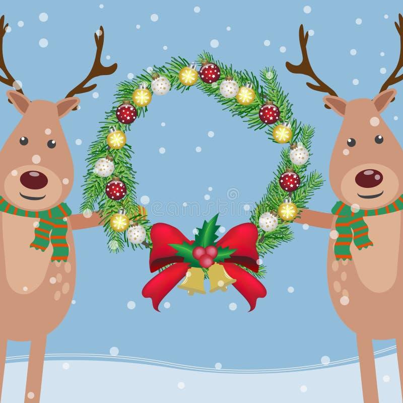 Download Олени держа гирлянду сосны рождества с украшением шариков для Иллюстрация вектора - иллюстрации насчитывающей гирлянда, тесемка: 81812341