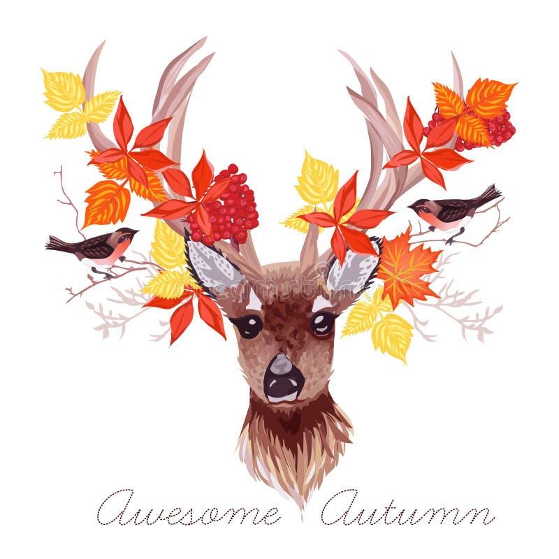 Олени, листья осени и вектор bullfinches конструируют бесплатная иллюстрация