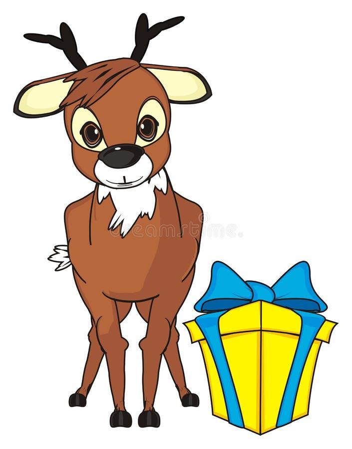 Олени и большой подарок иллюстрация штока