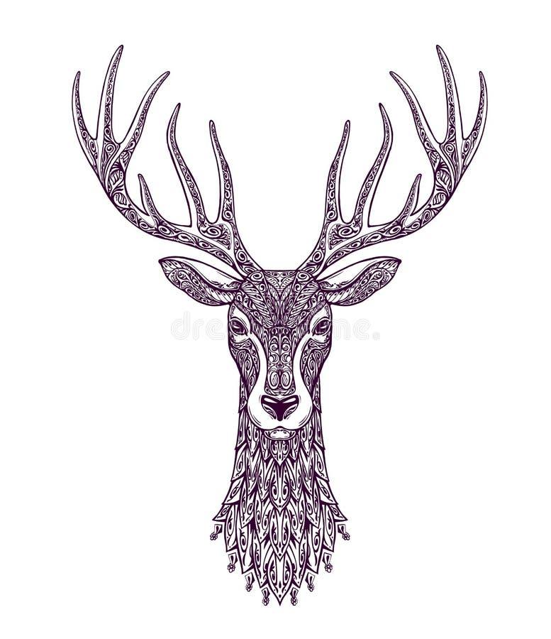 Олени нарисованные рукой головные, северный олень Рождество, символ xmas бесплатная иллюстрация