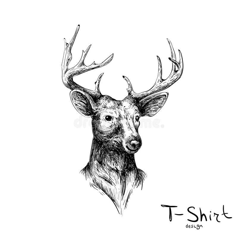 Олени логотипа вектора для дизайна футболки иллюстрация вектора