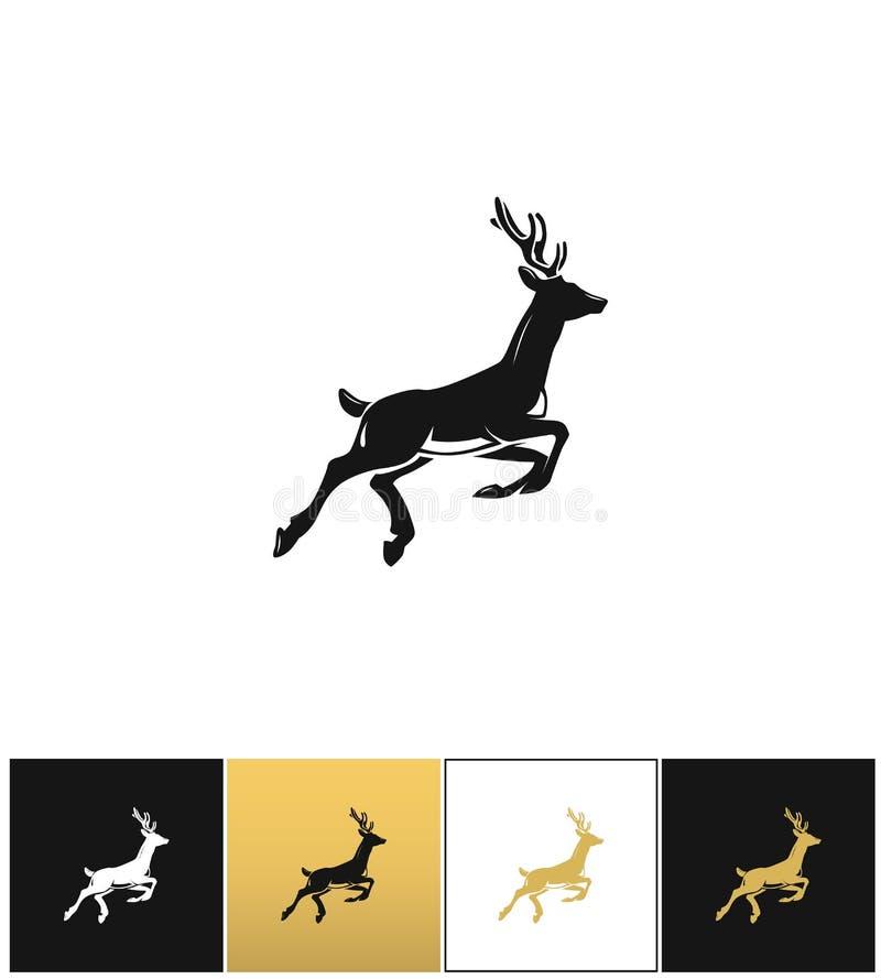 Олени silhouette или значок вектора северного оленя иллюстрация штока