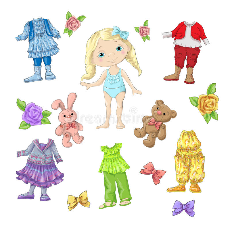 Оденьте милую куклу с комплектами одежд с аксессуарами и игрушками бесплатная иллюстрация