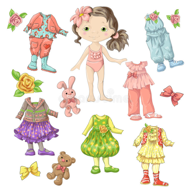 Оденьте милую куклу с комплектами одежд с аксессуарами и игрушками иллюстрация вектора