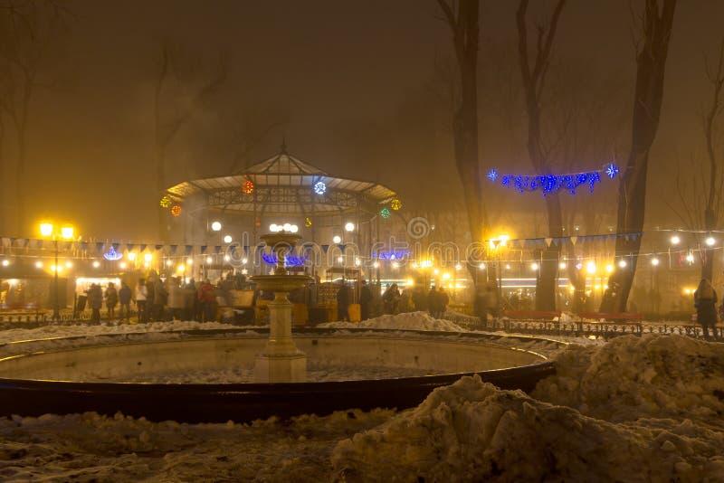 Одесса в тумане Рождество стоковое изображение rf
