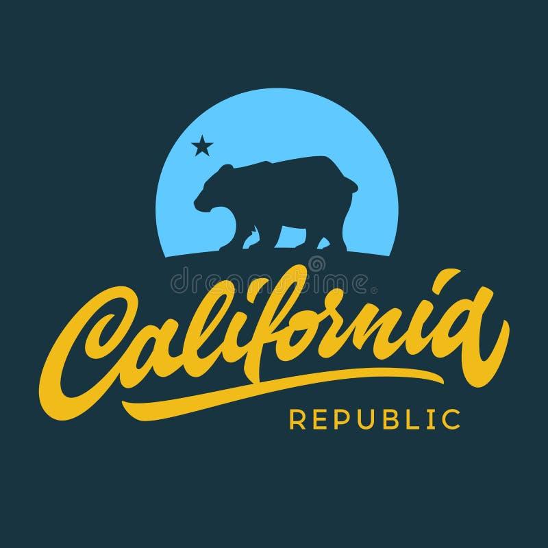 Одеяние f футболки винтажной ретро республики Калифорнии каллиграфическое иллюстрация вектора