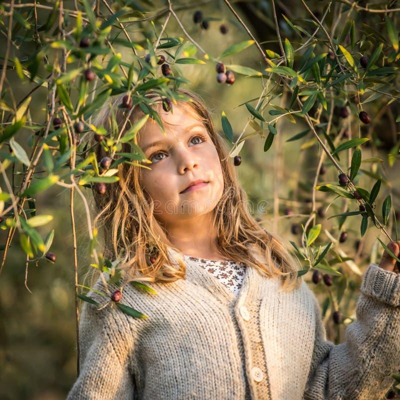 Оливки рудоразборки маленькой девочки стоковое фото