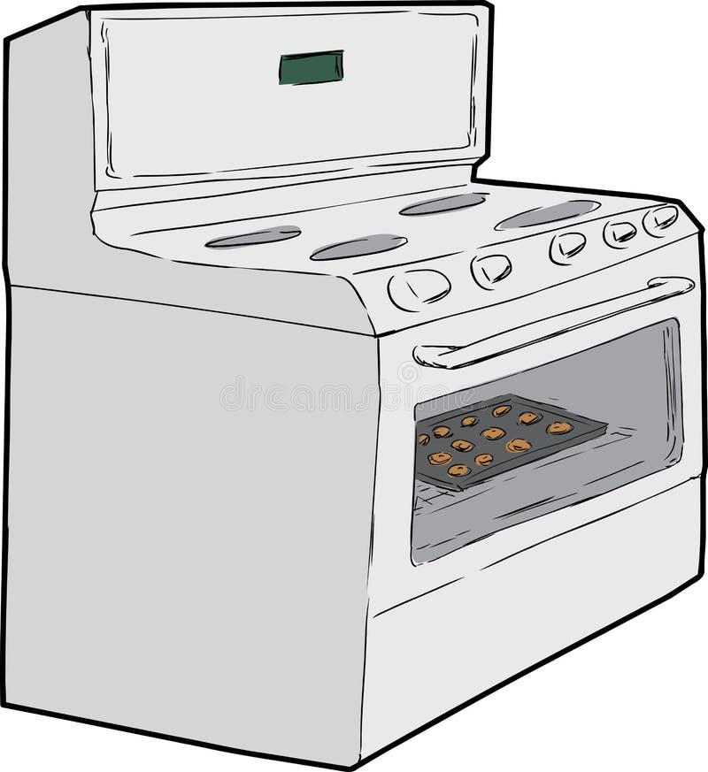 Одиночная печь с печеньями внутрь иллюстрация штока