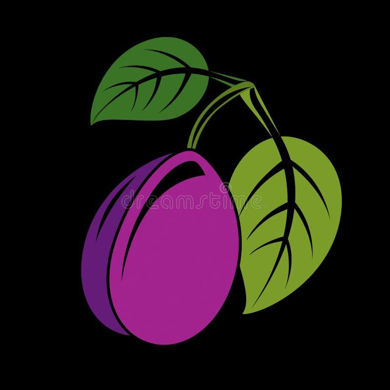 Одиночная фиолетовая простая слива с зелеными листьями, зрелая помадка f вектора иллюстрация вектора