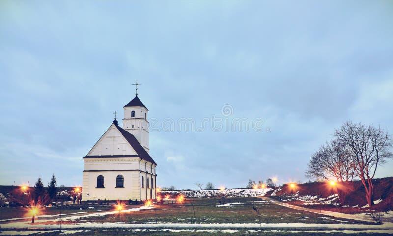 Одиночная церковь в Беларуси стоковая фотография rf