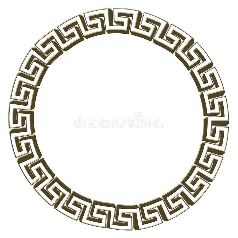 Одиночное греческое ключевое золото круга Изолировано на белизне иллюстрация иллюстрация штока