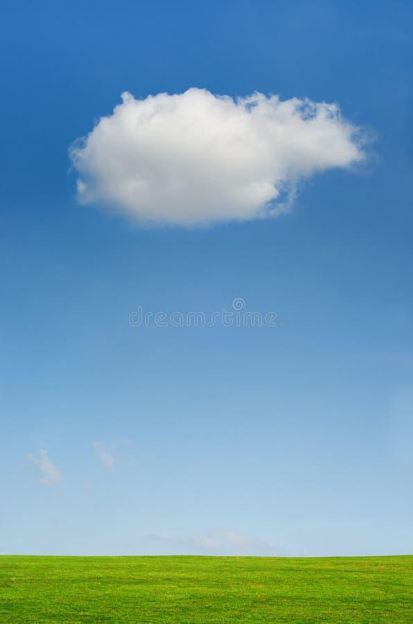Одиночное облако в ясном голубом небе над ландшафтом зеленой травы стоковая фотография