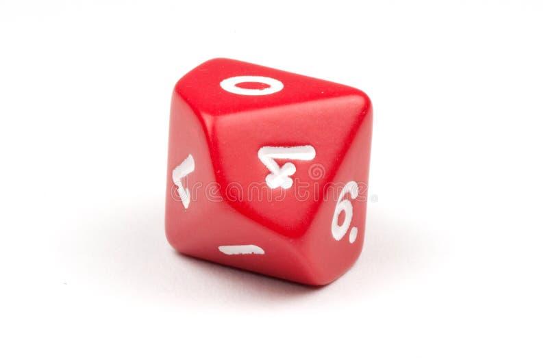 Одиночный красный цвет 10-встал на сторону умирает стоковое изображение