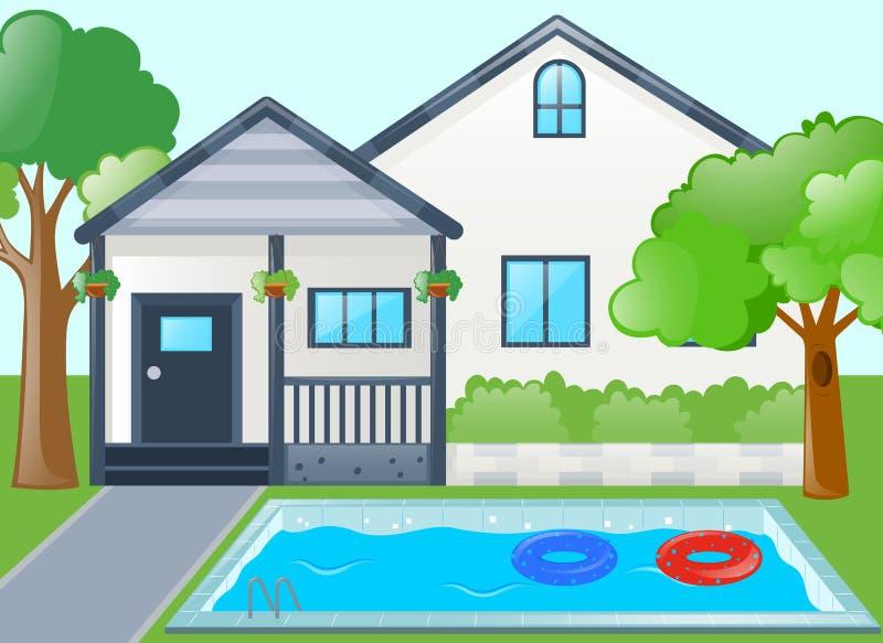 Одиночный дом с бассейном бесплатная иллюстрация