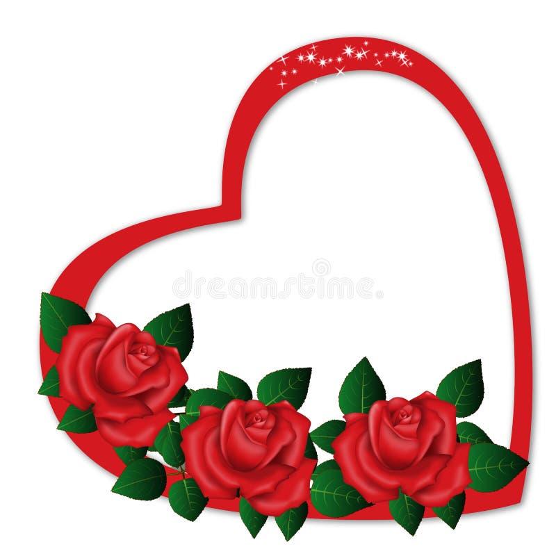 Одиночный Харт с красными розами бесплатная иллюстрация