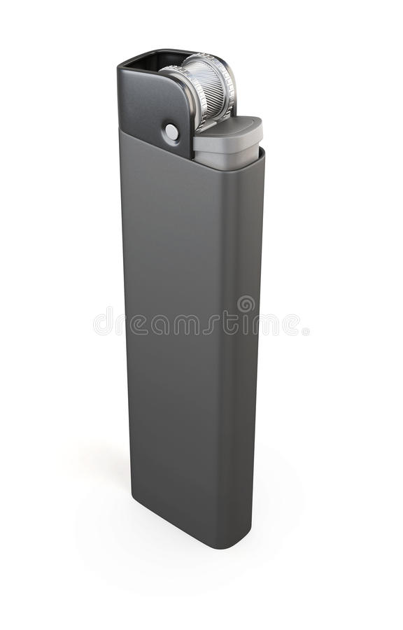 Одиночный черный лихтер на белой предпосылке renderin 3D иллюстрация штока