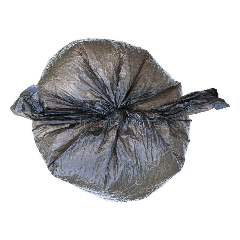 один закрытый черный полиэтиленовый пакет изолированный на белизне стоковые фото