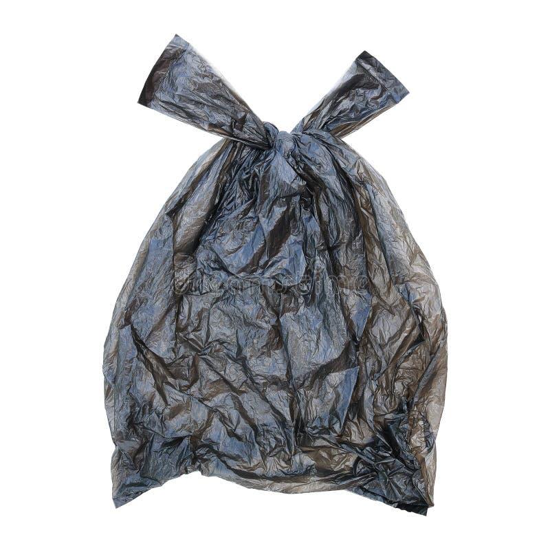 один закрытый черный полиэтиленовый пакет изолированный на белизне стоковая фотография