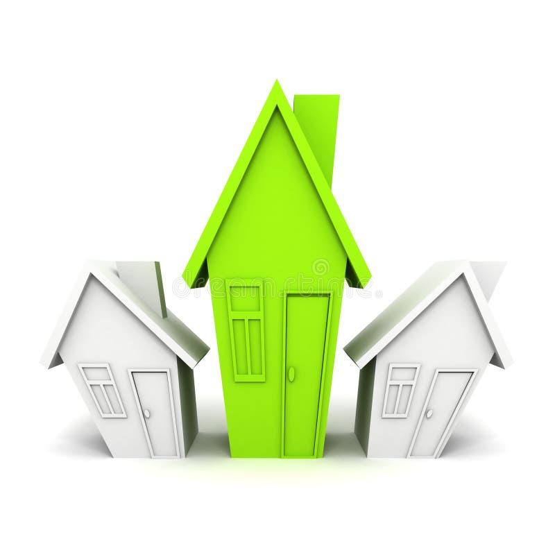 Один зеленый уникально выбор дома стоя вне от толпы иллюстрация штока