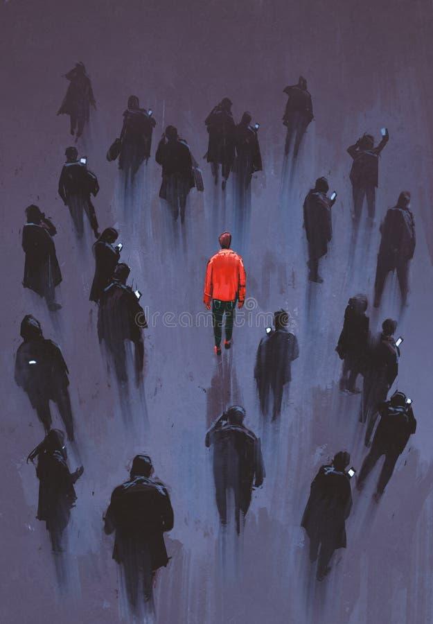 Один красный человек стоя с другими людьми с телефоном, уникально персона в толпе иллюстрация штока