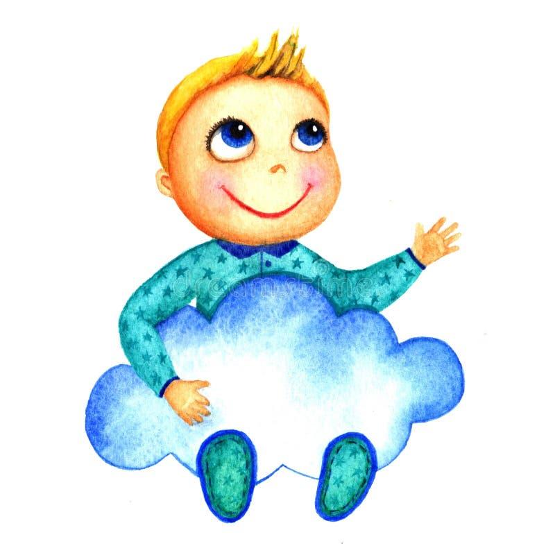 Один маленький милый усмехаясь мальчик держа большое голубое облако в его руках Младенцы призрения Мечты и надежды ребенк получит иллюстрация штока